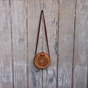 Wicker Circle Bag with Floral Lining!